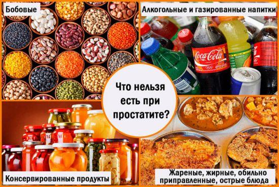 Запрещенные продукты при простатите